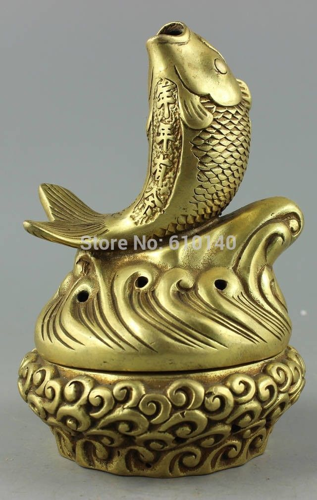 Collectible Decorated Old Handwork Copper Carve Mid fish & sea Incense BurnerCollectible Decorated Old Handwork Copper Carve Mid fish & sea Incense Burner