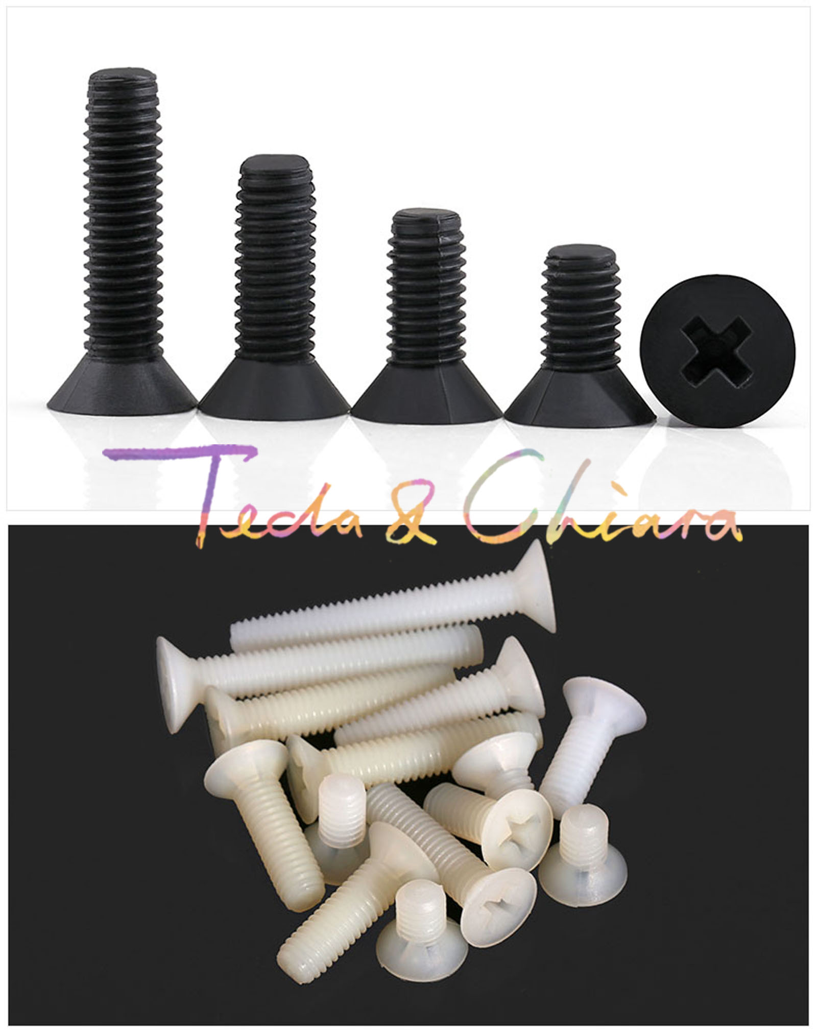10Pcs <font><b>M5</b></font> x <font><b>40mm</b></font> New L 40 White Black Nylon Machine Phillips Flat Head Cross Recessed Countersunk Head Screw Plastic * image
