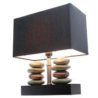 Элегантный дизайн Прямоугольный двойной сложены каменные Керамика Настольная лампа с черным оттенком