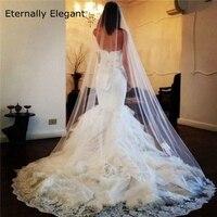2015 White/Ivory Wedding Veil 3m Long With Comb Lace Mantilla Bridal Veil Wedding Accessories Veu De Noiva MD3045