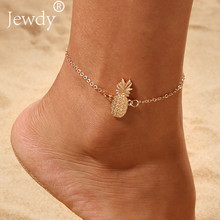 Gold Pineapple Charm Anklet Bracelet for Women 2019 Ankle Sandals Barefoot Beach Foot Bridal Summer Body Jewelry Fruit Jewelry(China)