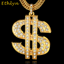 Ethlyn Rhinestone big dollar pendant Gold Color US money sign Slide necklace pendant Black American hip-hop jewelry P052