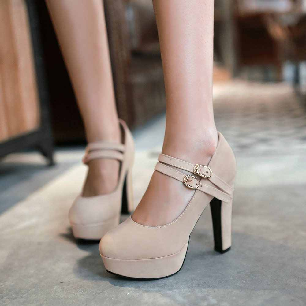 Ilkbahar sonbahar Büyük boy 35-42 kadın ayakkabı kadın yüksek topuklu zarif toka askısı ofis bayan parti düğün pompaları
