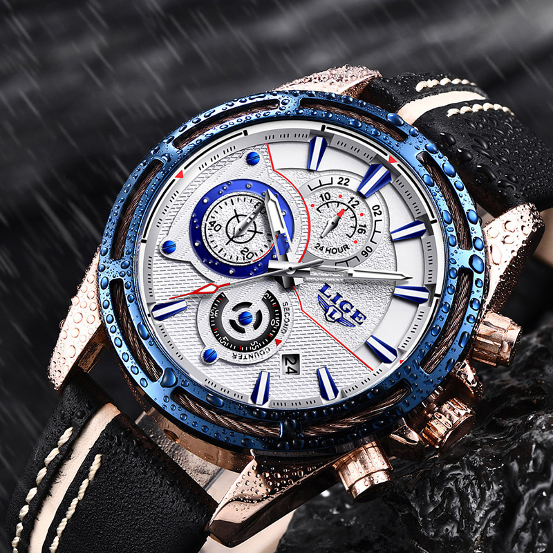 5a20f860df5f 2018 June LIGE Mens Watches Brand LIGE Luxury Jewelry Quartz Blue Fashion  Sports Watch Casual Military Leather Men Watch+Box