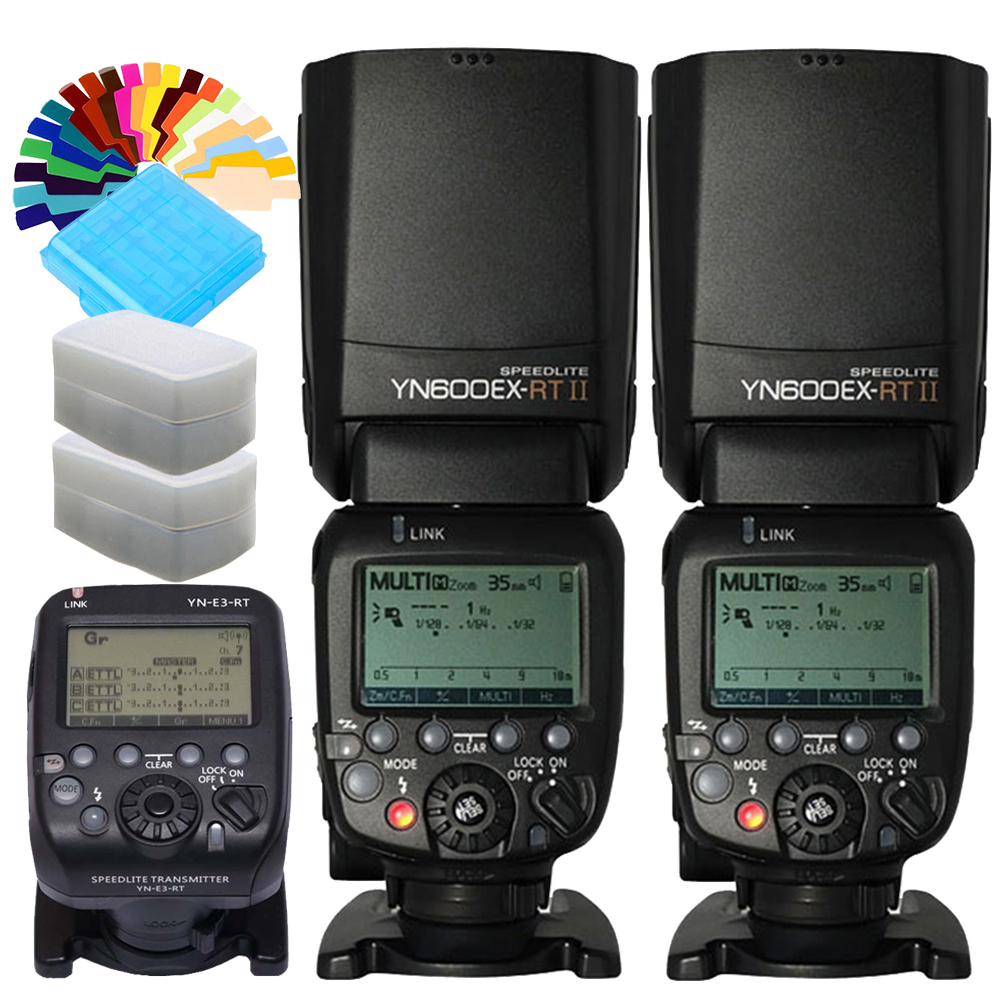 2Pcs YONGNUO YN600EX-<font><b>RT</b></font> <font><b>II</b></font> 2.4G Wireless 1/8000s TTL Flash Speedlite with <font><b>YN</b></font>-E3-<font><b>RT</b></font> Transmitter for Canon as <font><b>600EX</b></font>-<font><b>RT</b></font> YN600EX <font><b>RT</b></font> image