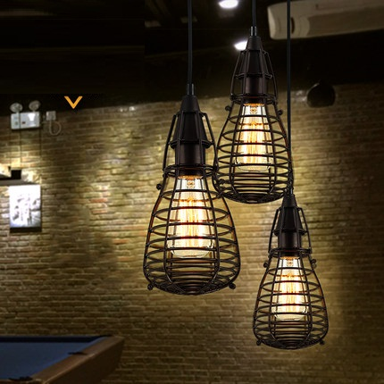 Retro Loft Style Iron Cage Droplight Industrial Edison Vintage Pendant Lamp Dining Room Hanging Light Fixtures Indoor Lighting loft vintage industrial retro pendant lamp edison light e27 holder iron restaurant bar counter brief hanging lamp wpl098