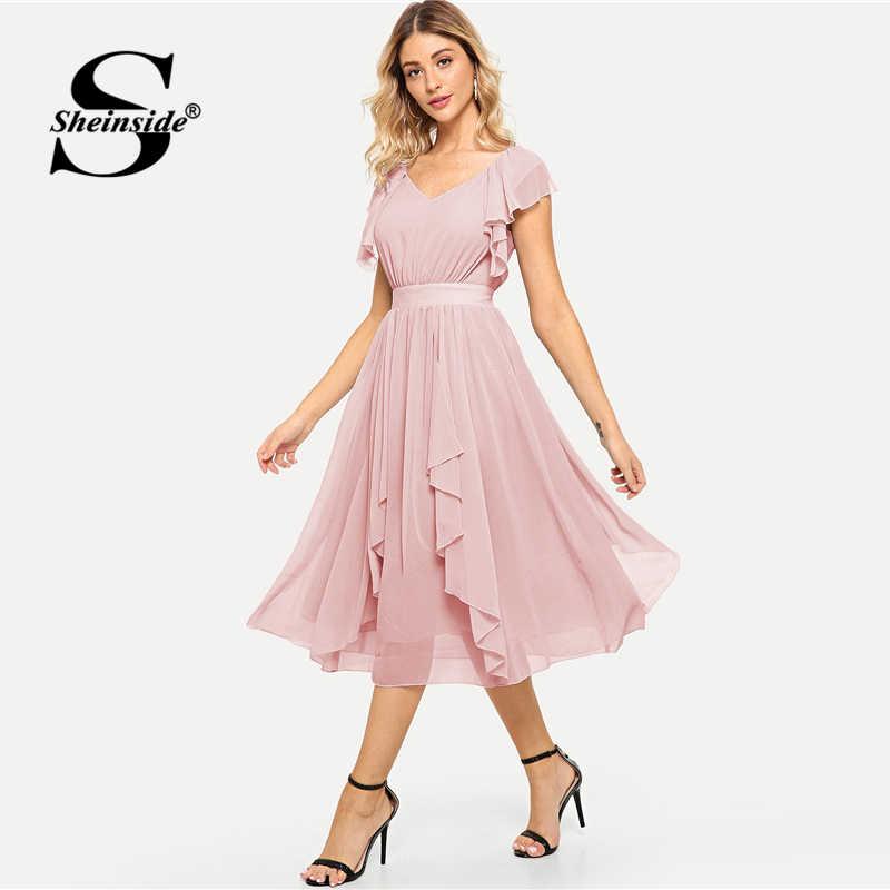 f4bb082268eb2 Sheinside Pink Elegant Ruffle Hem Dress Women High Waist Zipper Midi Dress  2019 Summer V Neck