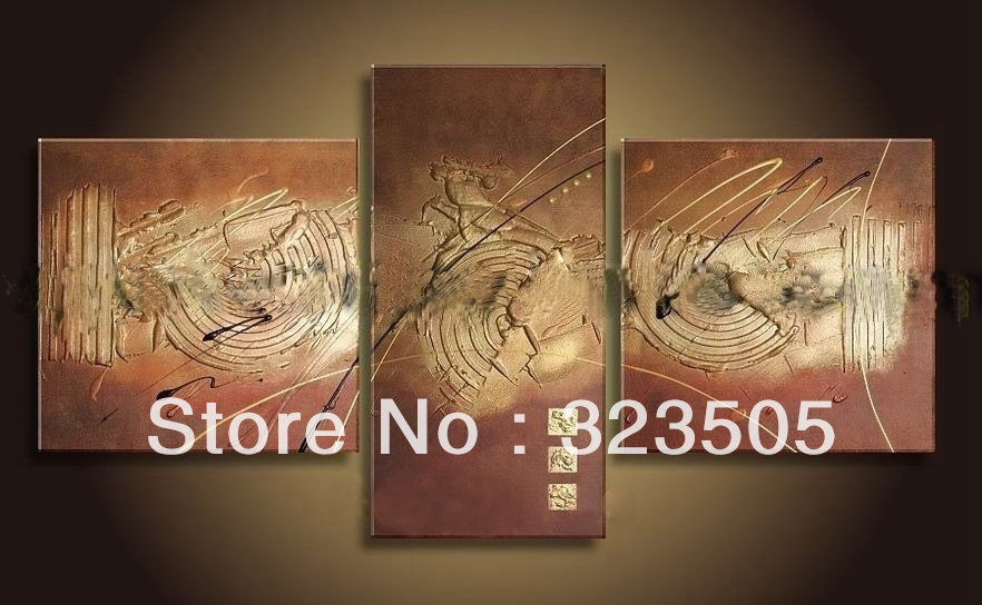 3 panel brown acrylic canvas wall art Modern abstract wall