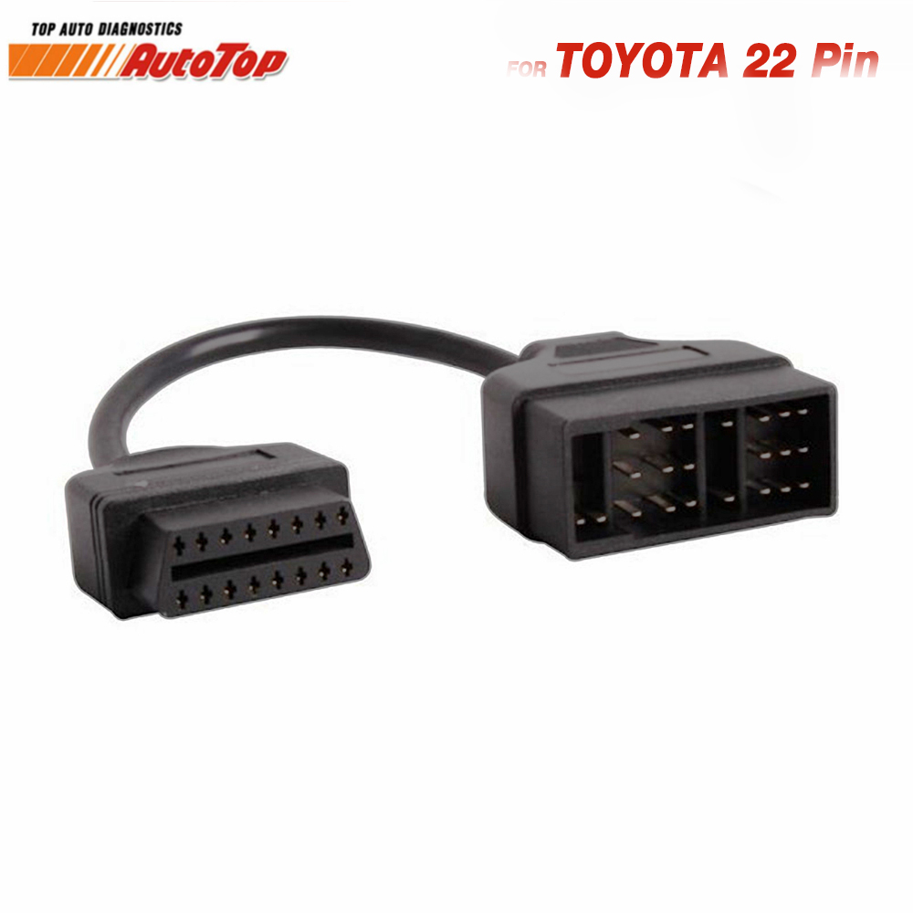 Top OBD2 Cable Adapter for Toyota 22Pin to 16Pin OBD Adapter to OBDII Connector for Toyota 22 Pin ODB2 Cable for TOYOTA Corolla obd2 obd cable 16pin male port to dual 16 pin female obdii odb2 car ecu connector adapter obd 2 odb ii automotive tool free ship