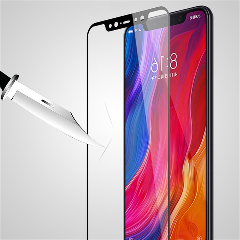 full cover Tempered Glass For XIAOMI MI 8 MI8 SE explorer MI8SE Screen protective smartphone on toughened frame all edges in Phone Screen Protectors from Cellphones Telecommunications