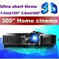 2015 recién llegado de 5500 lúmenes de alto brillo tiro corto proyector DLP 3D con 240 W Osram lámpara 10000:1 Digital Video juegos Beamer