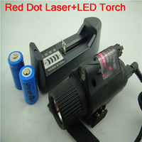 Tactical Mount CREE LED Flashlight Red Laser Sight Dot Scope Combo Pistols Gun