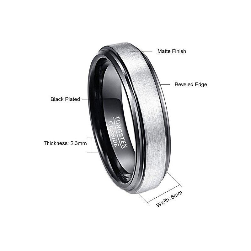 6mm Unisex Black Polished Matte Brushed Finish Tungsten Ring 1