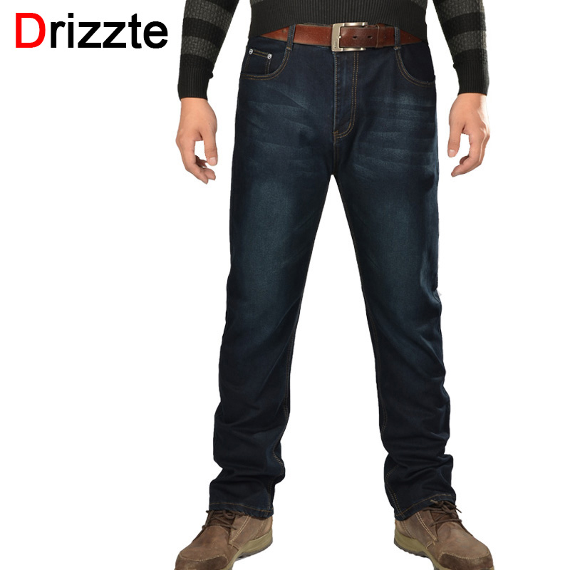 Drizzte Plus Size 36 to 48 Mens Trendy Black Blue Jeans Regular Denim Jean Trousers Large Size Big and Tall Long Summer Pants sulee brand 2017 mens plus size jeans stretch dark blue denim slim long trouser jean pants big and tall trendy mens clothing