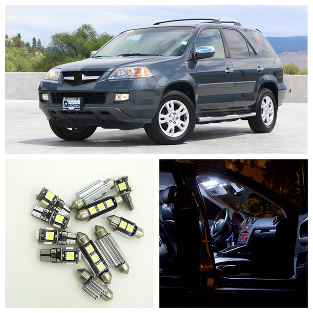 15pcs White LED Car Light Bulbs Interior Package Kit For 2001 2002 2003 2004 2005 2006 Acura MDX Map Trunk Step Courtesy Lamp