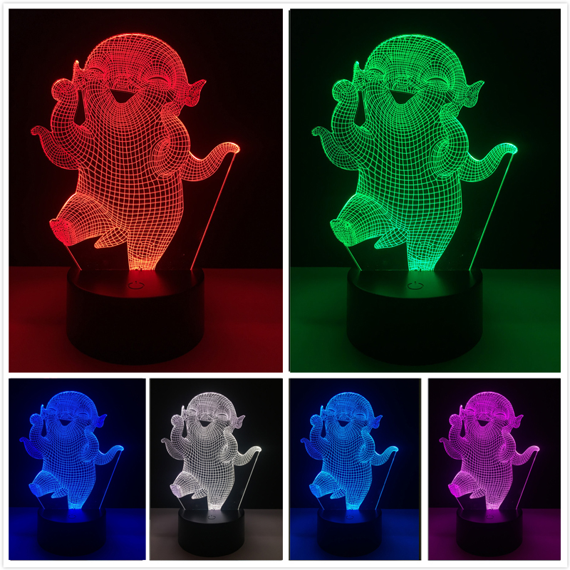 Movies Monster Hunt Character Wuba LED Illusion 7 Color Dimming Gradient Night Light Child Bedside Sleeping Birthday Xmas Gifts