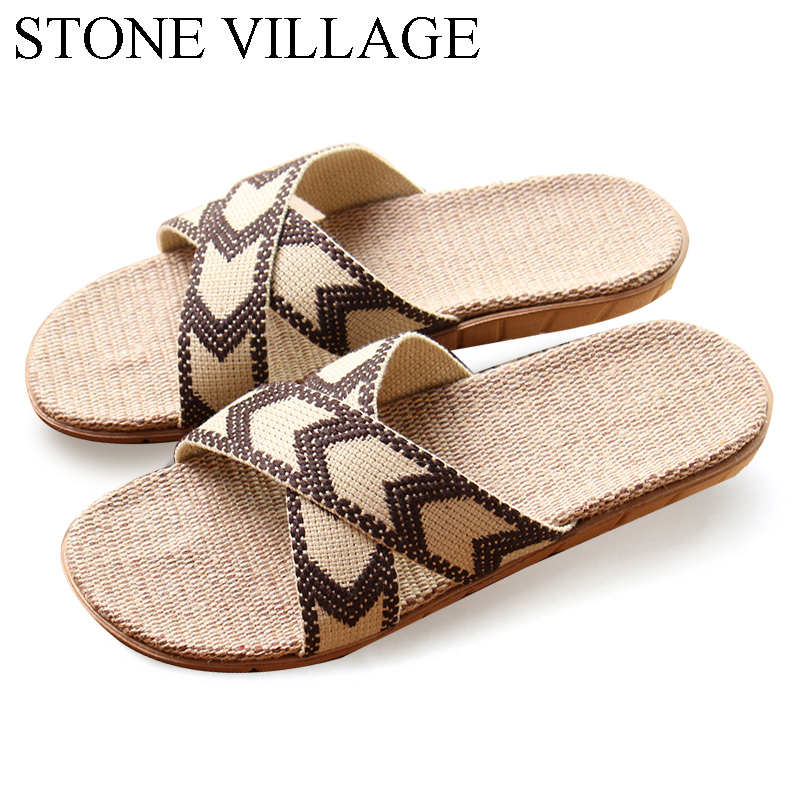 STONE VILLAGE High Quality New Summer Home Slippers Flax  Men Slippers Mixed-Colors Indoor Shoes Lovers Non-Slip House Slippers the stone house