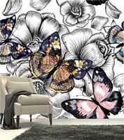 La dernière 3D peintures murales, 3D dessinés à la main fleurs et papillons colorés, salon TV canapé chambre fond mur papier
