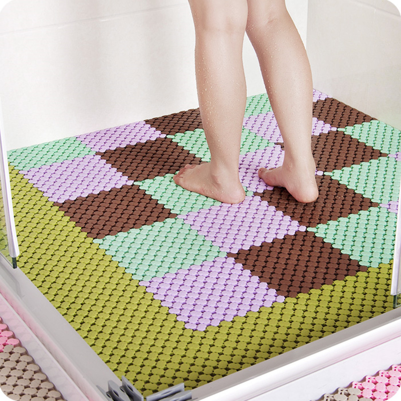 Us 21 51 10 Off Diy Bathroom Mat Non Slip Puzzle Massage Bathroom For Kitchen Bathroom Supplies Protect Old And Children Carpet In Bath Mats From