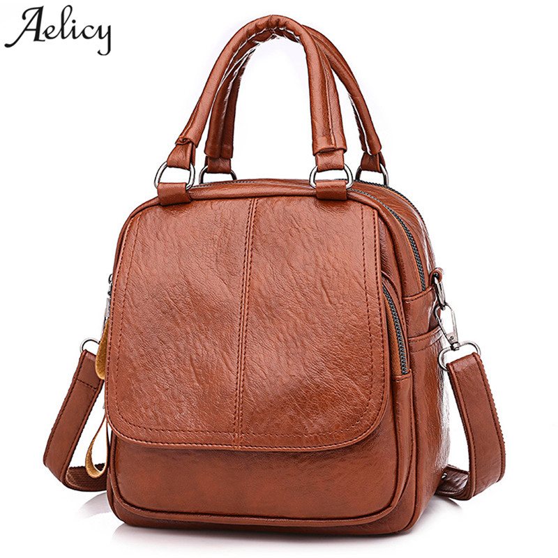 Aelicy Backpack Vintage Leather Girl School Bag Satchel Student Travel women Shoulder Bag @ bags for women 2018 mochila feminina fashion women leather backpack rucksack travel school bag shoulder bags satchel girls mochila feminina school bags for teenagers