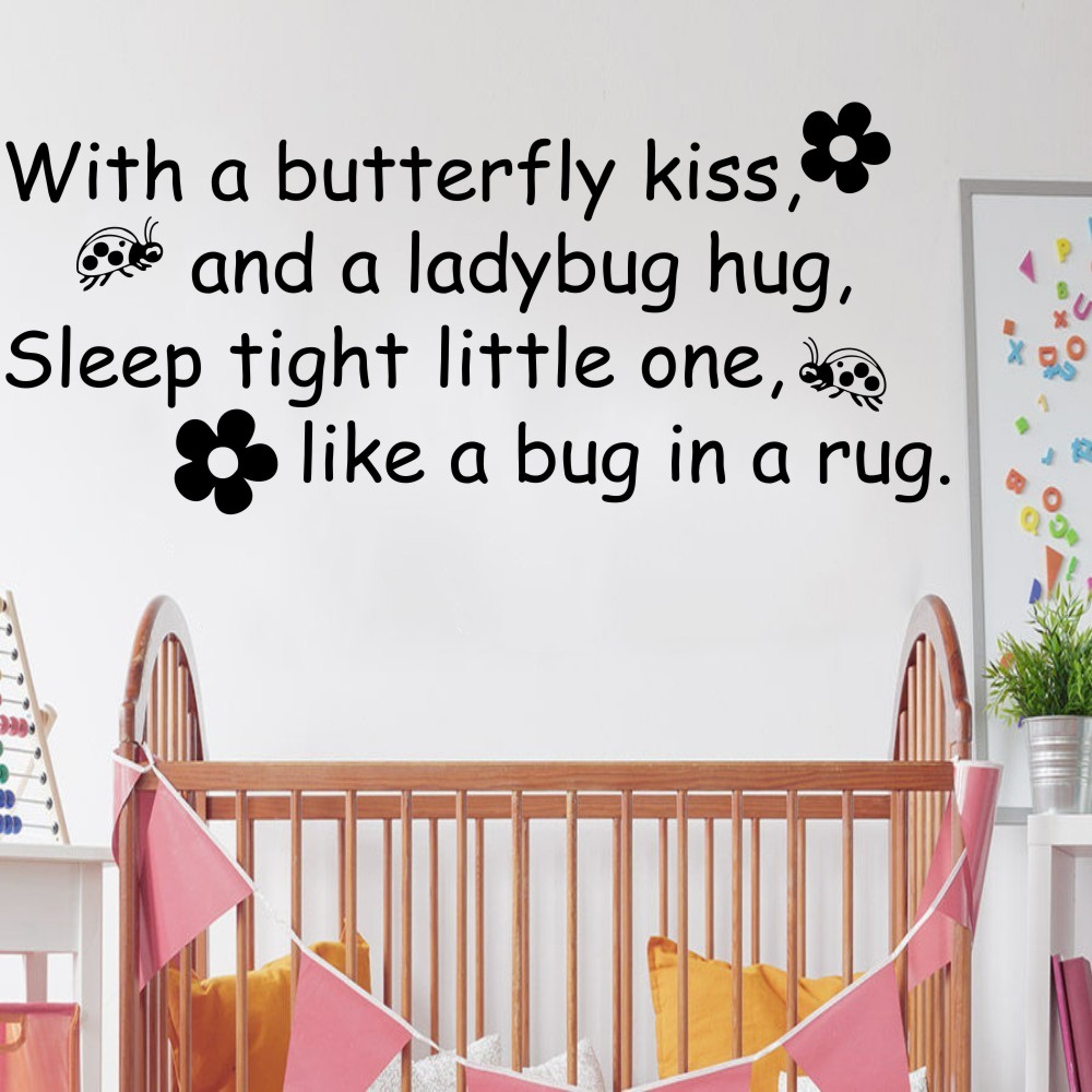 Kids Wall Decal Butterfly Kiss Ladybug Hug Quote Vinyl Decal Home Decor Baby Room Wall Sticker DIY Decoration Sticker YO 173 in Wall Stickers from Home Garden