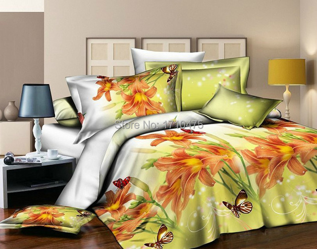 Newest Design Hot Sale Yellow Bridal Embroidery Flower Design Bulk Bed  Sheets Girl Bedroom Comforter Set