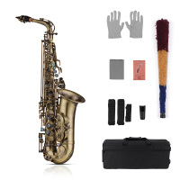 Muslady High Grade Antique Finish Eb E flat Alto Saxophone Sax Shell Key Carve Pattern Woodwind Instrument Padded Carry Case