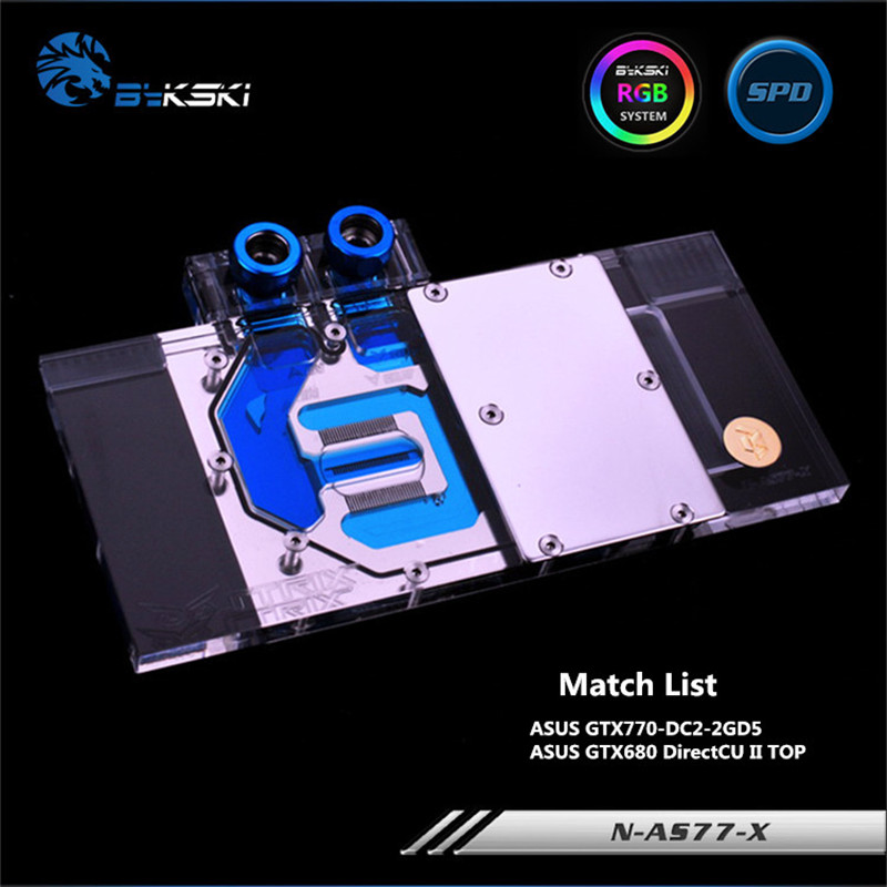 Bykski Full Coverage GPU Water Block For ASUS GTX680 DC2 GTX770 TOP Graphics Card N-AS77-X computador cooling fan replacement for msi twin frozr ii r7770 hd 7770 n460 n560 gtx graphics video card fans pld08010s12hh