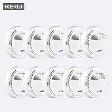 KERUI 10 قطعة لاسلكية حساسة الحماية من الحرائق كاشف الدخان العمل بشكل مستقل المنزل مستودع مكتب الأمن إنذار