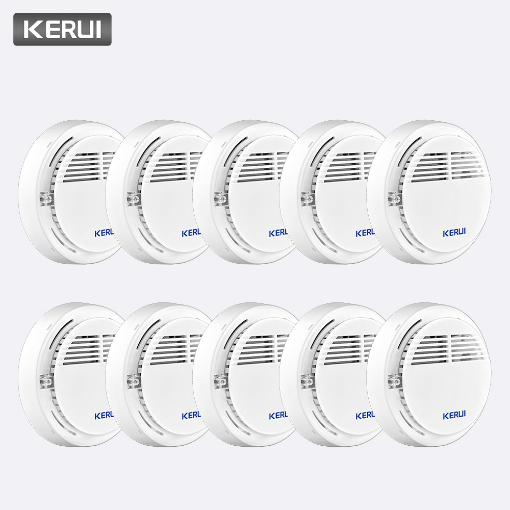 KERUI 10PCS Wireless Sensitive Fire Protection Smoke Detector Work Independently Home Warehouse Office Security Alarm