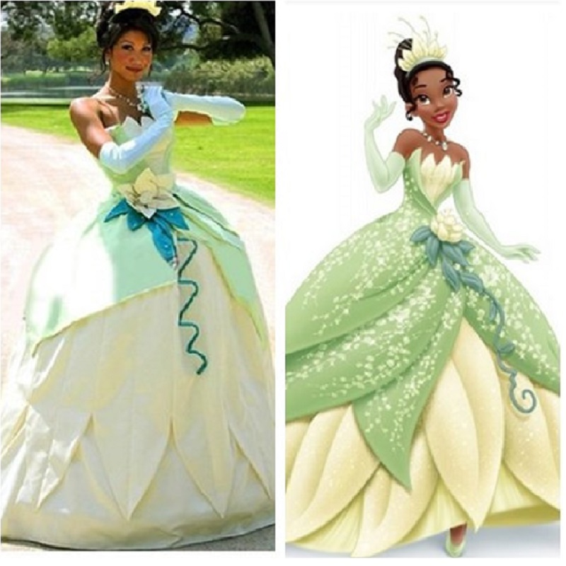 Tiana Adult Costume The Princess and The Frog Green Ornate Dress Cosplay Dress