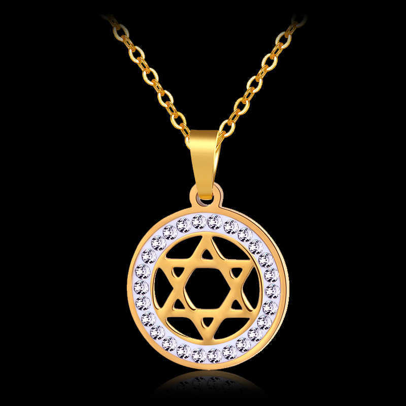 Jewish Shield Magen Star of David Judaism Pendant Necklace Stainless Steel Yahadut Gold/Silver Color Men/Women Israel Jewelry