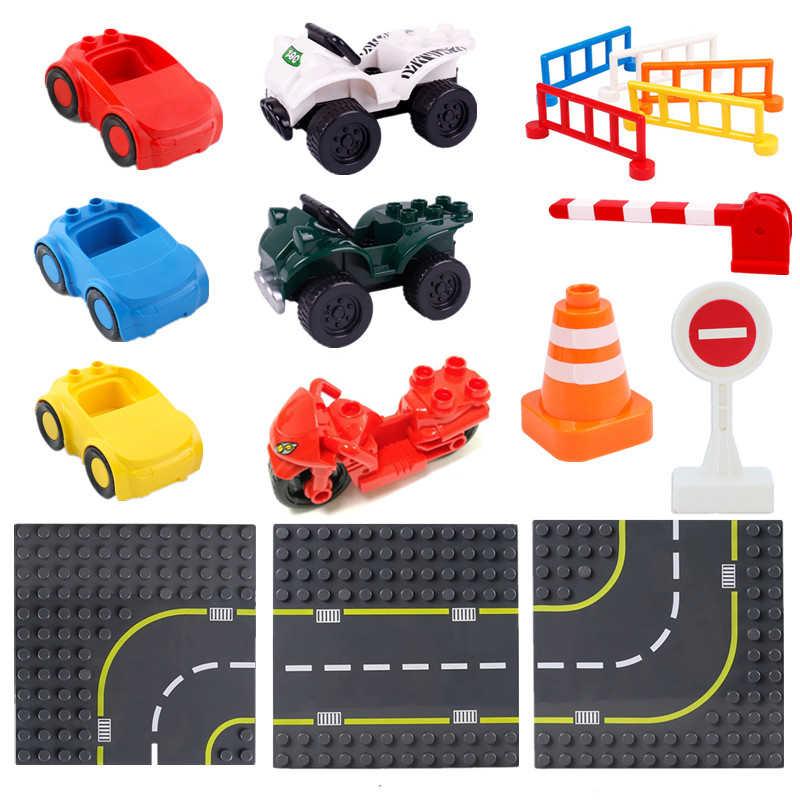 Diy Placa de carretera de gran tamaño bloque de construcción accesorios de tráfico piezas de placa juguetes para niños regalos de navidad