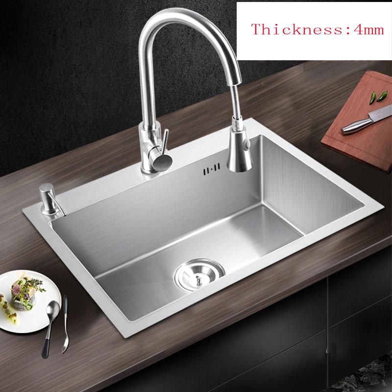 US $188.15 29% OFF|Waschbecken küche über gegen oder unterbau einbausatz  edelstahl gebürstet küchenspüle 65*45 cm/68*45 cm Handgemachte evier pia-in  ...