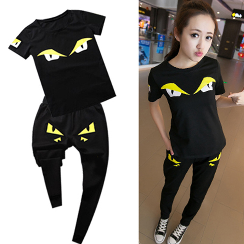 Monster Costumes 2018 Summer New Women's Casual Sportswear Japan Korean version of the monster Slim T-shirt trousers two sets
