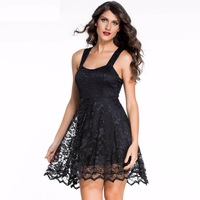 SOUMNS 2017 Elegant Women Sexy Black Lace Sleeveless Tank Hollow Out Backless Loose Dress Summer Party