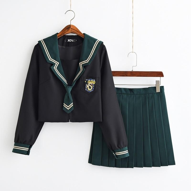 Long Sleeve Japanese Spring Autumn Student JK Uniform Dark Green High School Colleage Girl's Student Uniform