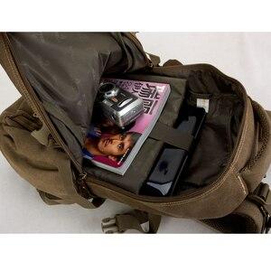 Image 2 - 남자 군사 캔버스 배낭 지퍼 배낭 노트북 여행 어깨 Mochila 노트북 Schoolbags 빈티지 대학 학교 가방