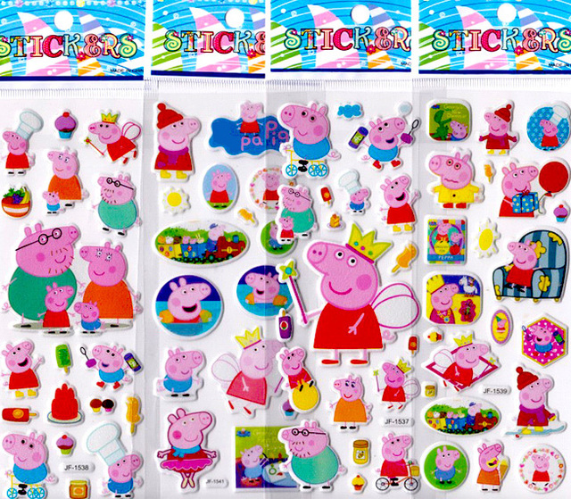 US $3 3 8% OFF|6pcs Non repeated Kids Pink Pig Sticker Sheets Children's 3D  Foam Sticker DIY Removable Girl's Favor NOT for Nail-in Stickers & Decals