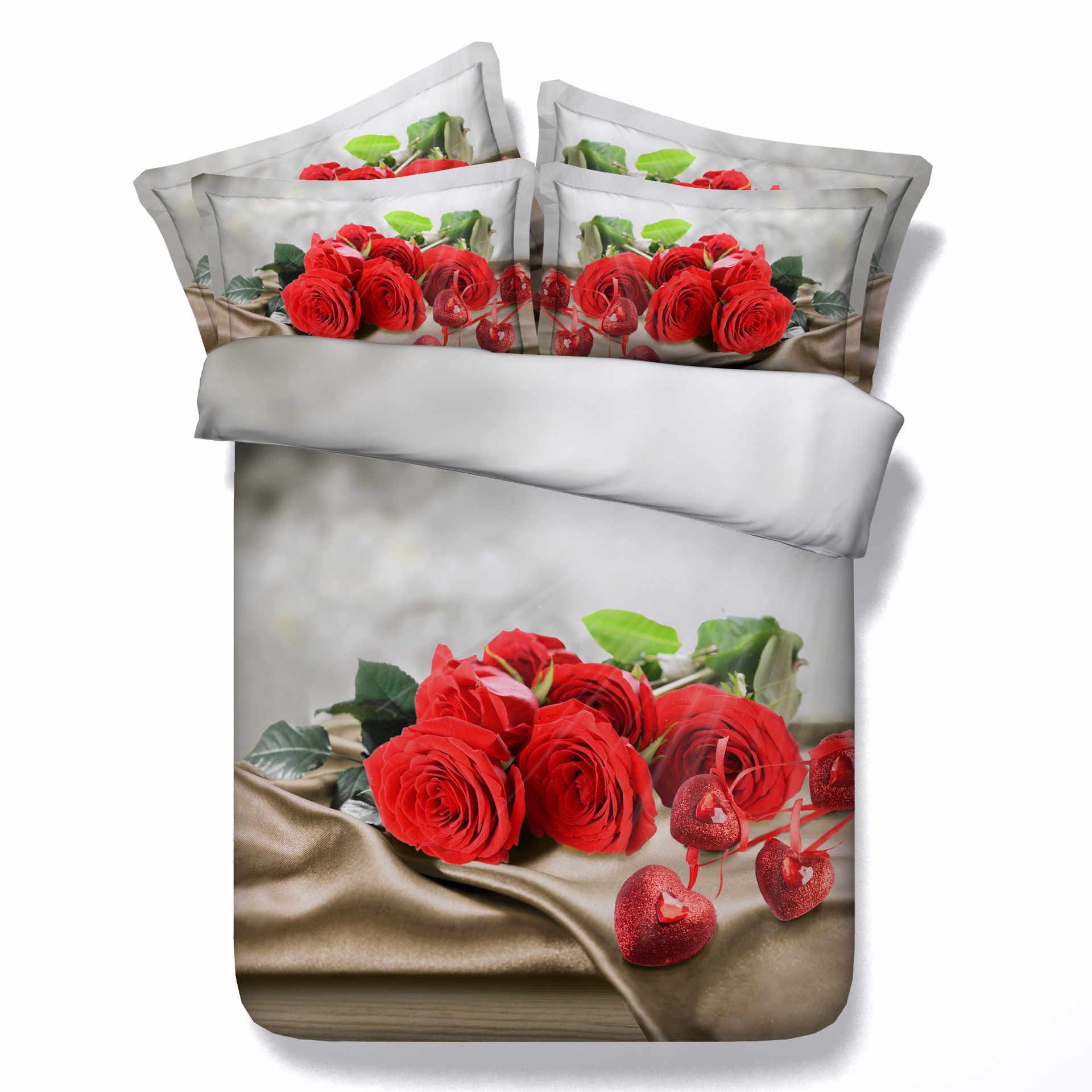 Silk rose Digital print Bedding Set  Quilt Cover  Design Bed Set Bohemian a Mini Van Bedclothes 3pcs Large size 260*225cm JF361