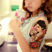 1pcs Beauty Fake Tattoo For Women Sticker On The Body Art Sexy Girl Owl Tattoo Wolf Designs Temporary Tattoo Sleeves Rose Flower