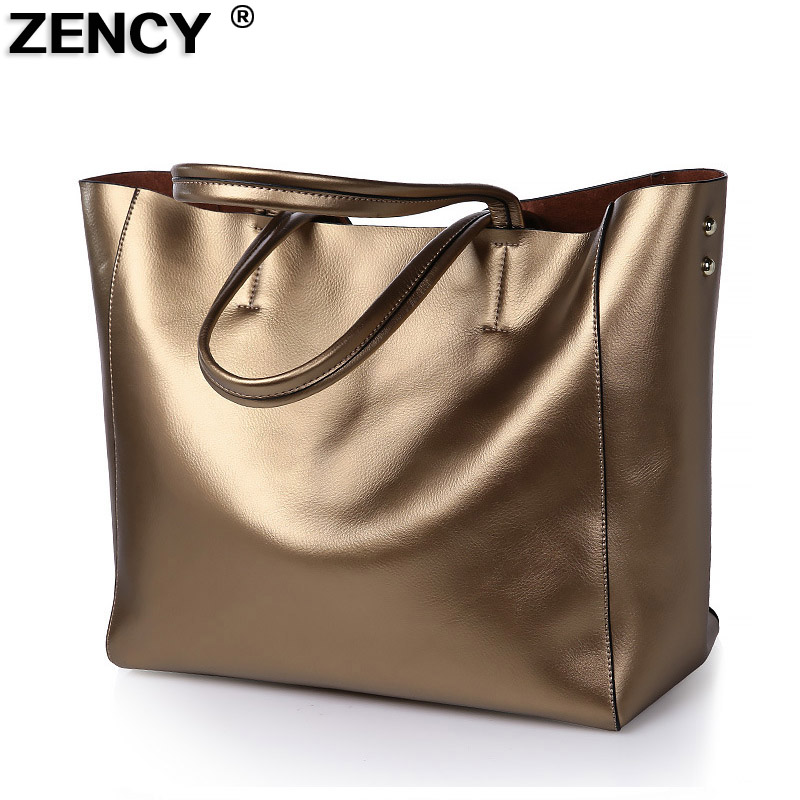 ZENCY Large Fashion Big Capacity Women Genuine Leather Tote Shopping Bags Female Woman Second Layer Cow Leather Shoulder Handbag aodux 2018 new famous brand women tote shopping bags female genuine leather woman second layer cow leather shoulder shopping bag
