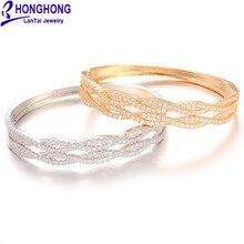 Honghong высокое качество геометрическая форма циркон браслет и браслет для женщин Mutilayer модные ювелирные аксессуары HK8040
