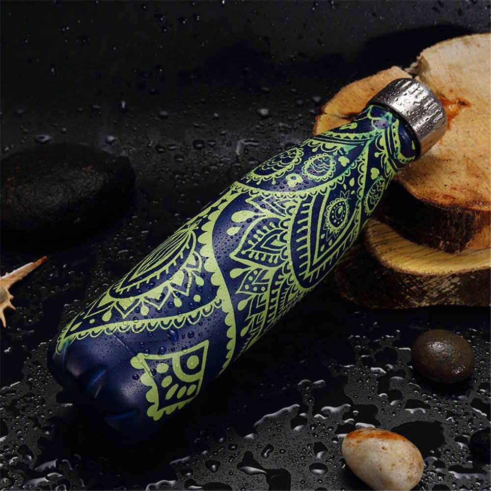 クリエイティブ魔法瓶水筒木目迷彩パターン漏れ防止サーモボトル 500 ミリリットルコーヒーミルクカップ愛好家のギフト