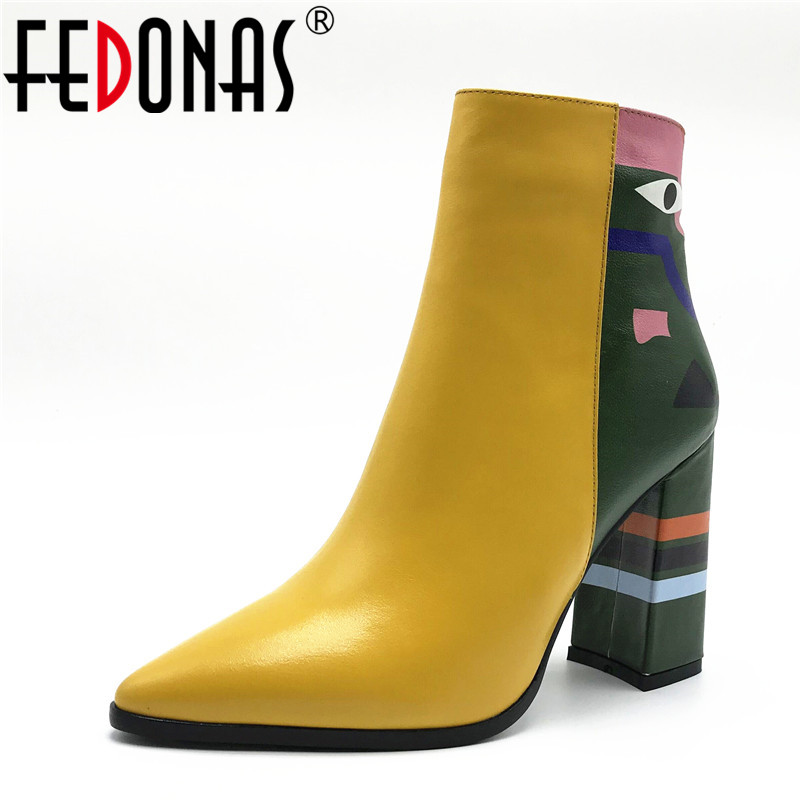 FEDONAS 2019 Fashion Brand Women Ankle Boots Print High Heels Ladies Shoes Woman Party Dancing Pumps Basic Leather Boots(China)