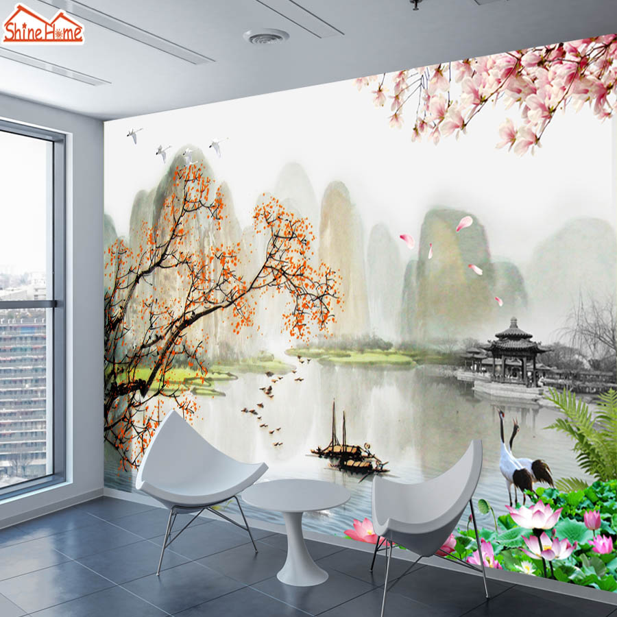 ShineHome-Large 3d Chinese Ink Landscape Narure Wallpaper Wall Murals Rolls Paper Non Woven Wallpapers For 3 D Living Room Decor
