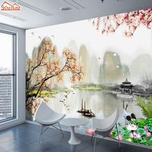 Shinehome 대형 3d 중국어 잉크 풍경 narure 벽지 벽 벽화 롤 종이 3 d 거실 장식을위한 비 짠 배경 화면