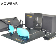 AOWEAR Classic 3025 Aviator Sunglasses Women Polarized Coating Mirror Glasses Men Pilot Sunglasses with Box Case Gafas De Sol
