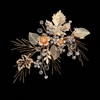 Pure handmade European and American style bridal golden crystal headdress, shooting props hair ornaments,wedding discoration