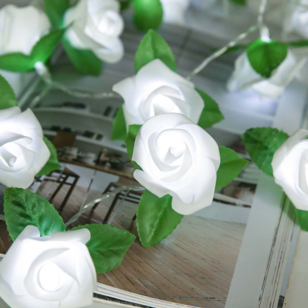 20LED Rose Flower with Green leaves LED String Lights Battery Wedding Birthday Valentine 39 s Day Decoration Rose LED D25 in LED String from Lights amp Lighting